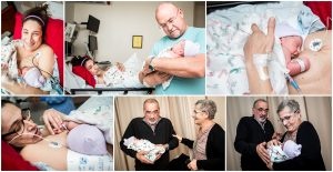 photo collage of family holding and admiring twins right after birth